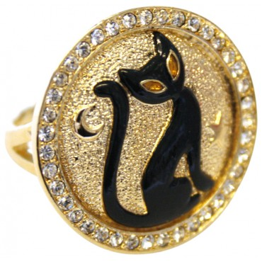 JRG13   Gold Plated Black Cat Ring Jewelari of London
