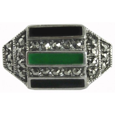 RG205   Marcasite Set Ring with Black Onyx and Green Agate Sterling Silver Ari D Norman