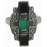 RG209 - Sterling Silver Marcasite Set Ring with Black Onyx and Green Agate