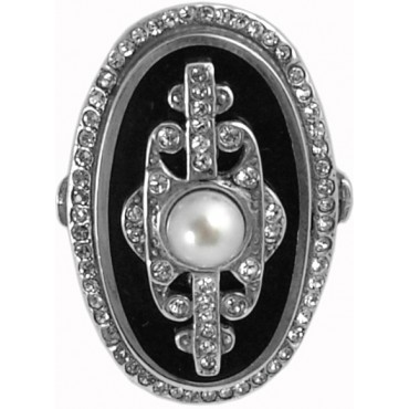 RG221   Ring with Black Enamel, Pearl and Crystal Sterling Silver Ari D Norman