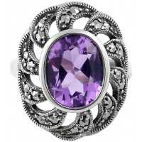 RG249   Ring with Marcasite and Amethyst Sterling Silver Ari D Norman