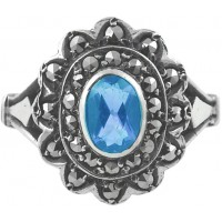 RG273   Ring with Marcasite and Genuine Synthetic Aquamarine Sterling Silver Ari D Norman
