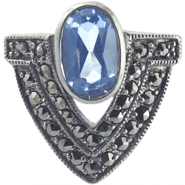 RG281   Ring with Marcasite and Genuine Synthetic Aquamarine Sterling Silver Ari D Norman