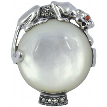 RG286   Mother of Pearl Panther Ring Sterling Silver Ari D Norman