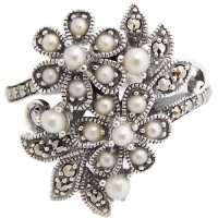 RG303   Floral Ring with Pearl and Marcasite Sterling Silver Ari D Norman