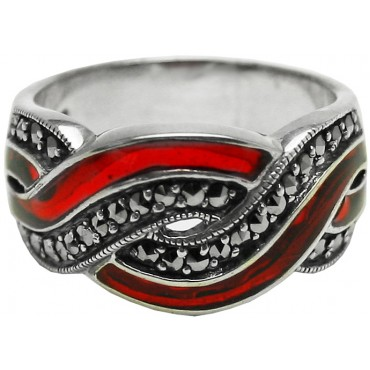 RG509   Ring With Red Enamel and Marcasite Sterling Silver Ari D Norman