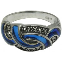 RG517   Ring with Blue Enamel and Marcasite Sterling Silver Ari D Norman