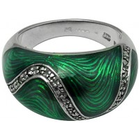 RG519   Ring with Green Enamel and Marcasite Sterling Silver Ari D Norman