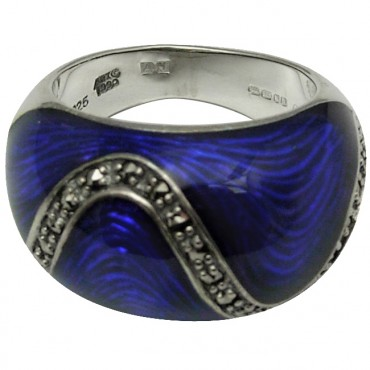 RG520   Ring with Blue Enamel and Marcasite Sterling Silver Ari D Norman
