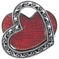 RG523   Ring with Red Enamel and Marcasite Sterling Silver Ari D Norman