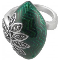 RG526   Ring with Green Enamel and Marcasite Sterling Silver Ari D Norman