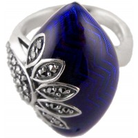 RG528 - Sterling Silver Ring with Blue Enamel and Marcasite