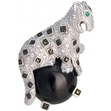 RG549   Leopard Ring With Onyx Sterling Silver Ari D Norman