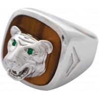 RG562   Tiger Ring with Tiger Eye Sterling Silver Ari D Norman