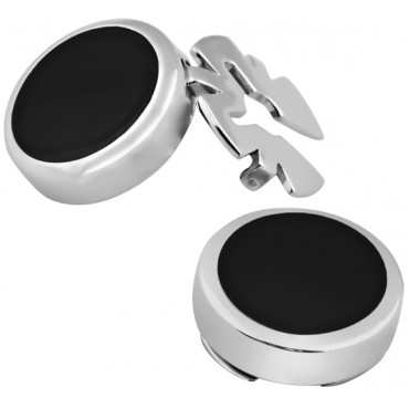 GT2100 - Pair of  Black Onyx Button Covers Sterling Silver Ari D Norman