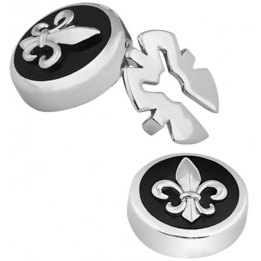 GT2060 - Pair of Fleur de Lys Button Covers Sterling Silver Ari D Norman