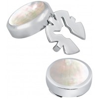 GT2099 - Pair of Mother of Pearl Button Covers Sterling Silver Ari D Norman