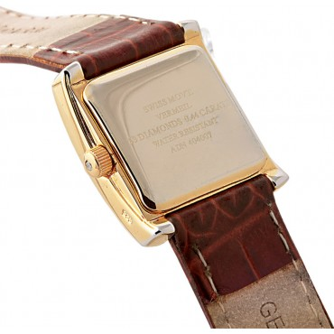 WTCH1   Gold Plated Sterling Silver (Vermeil) Diamond Set Watch with Leather Strap Ari D Norman
