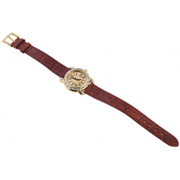WTCH2   Gold Plated Sterling Silver (Vermeil) Diamond Set Watch with Leather Strap Ari D Norman