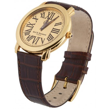 WTCH4   Gold Plated Sterling Silver (Vermeil) Watch with Leather Strap Ari D Norman