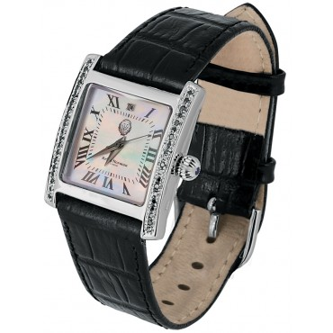WTCH6   Sterling Silver Diamond Set Watch with Leather Strap Ari D Norman