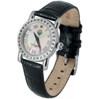 WTCH7   Sterling Silver Diamond Set Watch with Leather Strap Ari D Norman