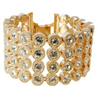 ENC1   Gold Plated and Crystal Set Edwardian Style Cuff Bracelet Jewelari of London