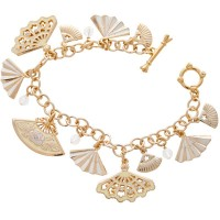 ENC2   Gold Plated Edwardian Style Charm Bracelet Jewelari of London