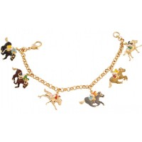 JBT42   Gold Plated Equestrian Charm Bracelet Jewelari of London