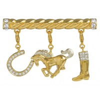 JB239   Gold Plated Equestrian Charm Brooch Jewelari of London