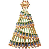JB156   Gold Plated Garland Christmas Tree Brooch with Austrian Crystals Jewelari of London