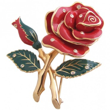 JB23   Gold Plated Rose Brooch Jewelari of London