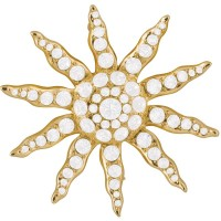 JB118   Gold Plated Victorian Sun Brooch with Austrian Crystals Jewelari of London