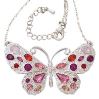 ADC1   Rhodium Plated Butterfly Necklace with Austrian Crystals Jewelari of London