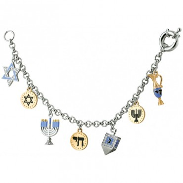 JBT2   Rhodium Plated Chanukah Charm Bracelet Jewelari of London
