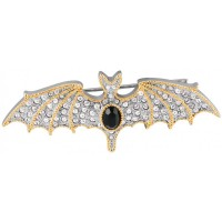 JB177   Rhodium Plated Crystal Bat Brooch Jewelari of London