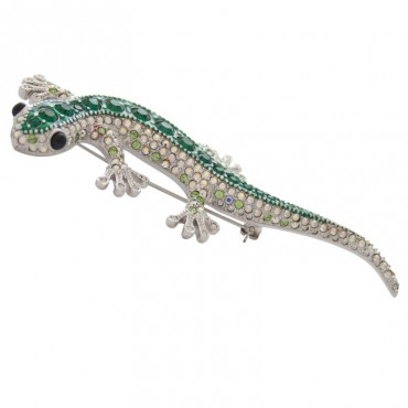 ADC6   Rhodium Plated Crystal Lizard Brooch Jewelari of London