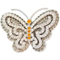 JB113   Rhodium Plated Jewelled Butterfly Brooch Jewelari of London