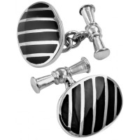 CU405 Ari D Norman Sterling Silver and Onyx Striped Oval Cufflinks