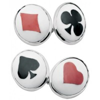 CU485 Ari D Norman Sterling Silver Card Suit Enamel Cufflinks