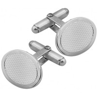 CU420 Ari D Norman Sterling Silver Engine Turned Oval Cufflinks