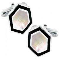 CU380 Ari D Norman Sterling Silver Hexagonal Mother of Pearl and Black Enamel Cufflinks
