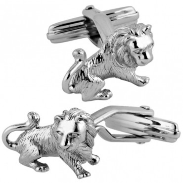 CU487 Ari D Norman Sterling Silver Lion Cufflinks