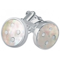 CU580 Ari D Norman Sterling Silver Mother of Pearl Button Design Cufflinks
