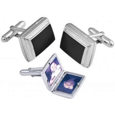 CU466 Ari D Norman Sterling Silver Onyx Locket Cufflinks