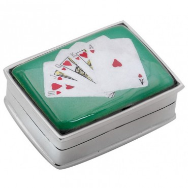 PB318   Ari D Norman Sterling Silver Royal Flush Cards Picture Pill Box