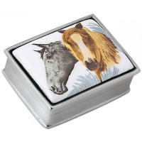 PB309   Ari D Norman Sterling Silver Two Horses Picture Pill Box