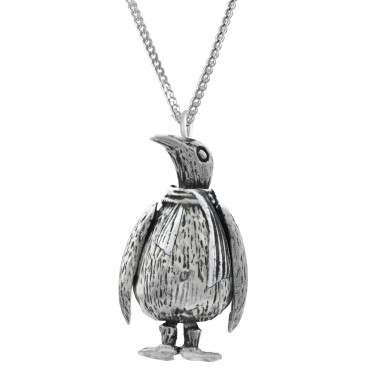 PT510   Moving Penguin Pendant on Chain Sterling Silver Ari D Norman