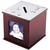 GT37    Mahogany Finish Money Box Sterling Silver Ari D Norman
