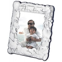 FR562   Baby Photo Frame With Train And Toy Design 8cm x 10cm Sterling Silver Ari D Norman